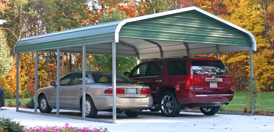 Regular Style Double Carport with gabled ends.